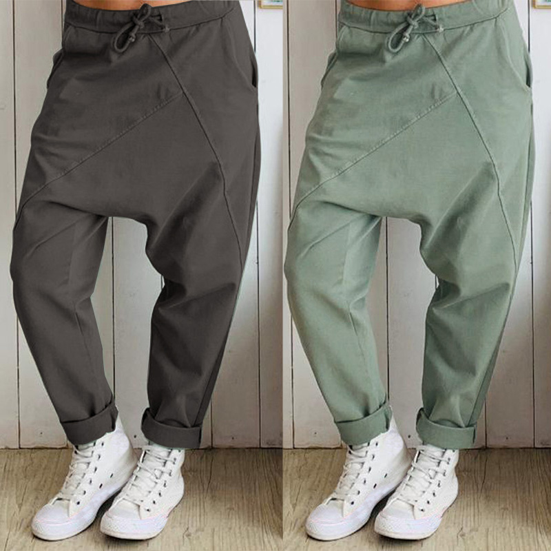 ZANZEA Women's Pants 2019 Fashion Casual Elastic Waist Drop-crotch Trousers Vintage Solid Color Patchwork Streetwear Pantalones