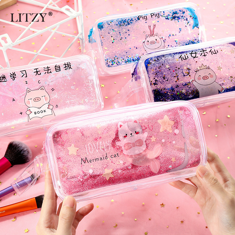 Big Glitter Pencil Case Quality Cute School Supplie Stationery Gift Transparent Box Pencilcase Kawaii Bag for girl