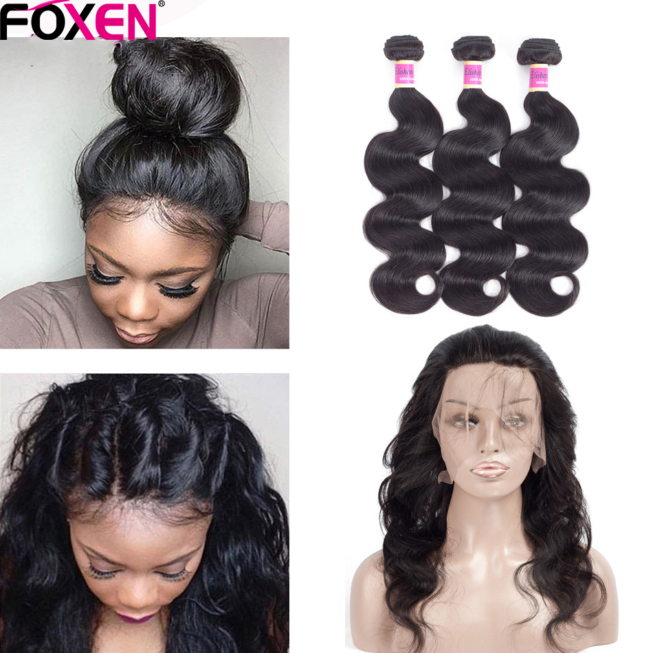 Elisheva Indian Body Wave Human Hair Bundles With 360 Lace Frontal Closure With Baby Hair Natural Color 360 Frontal With Bundles