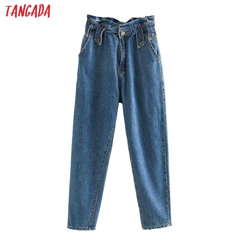 Tangada 2020 Women High Waist Mom Jeans Pants Long Trousers Strethy Waist Pockets Zipper Female Pants 4M145
