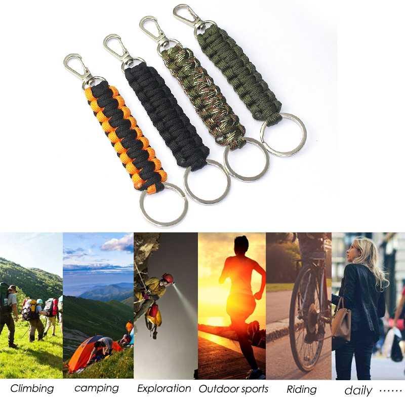屋外キャンプパラシュートコードカラビナスイベルバックル緊急サバイバルキーチェーンハイキングツールスポーツウォーターボトルキーホルダー