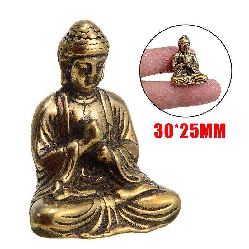 Chinese Buddha Statue Fengshui Sitting Buddhism Sakyamuni Buddha Statue Ornament Vintage Home Decor 30*25mm