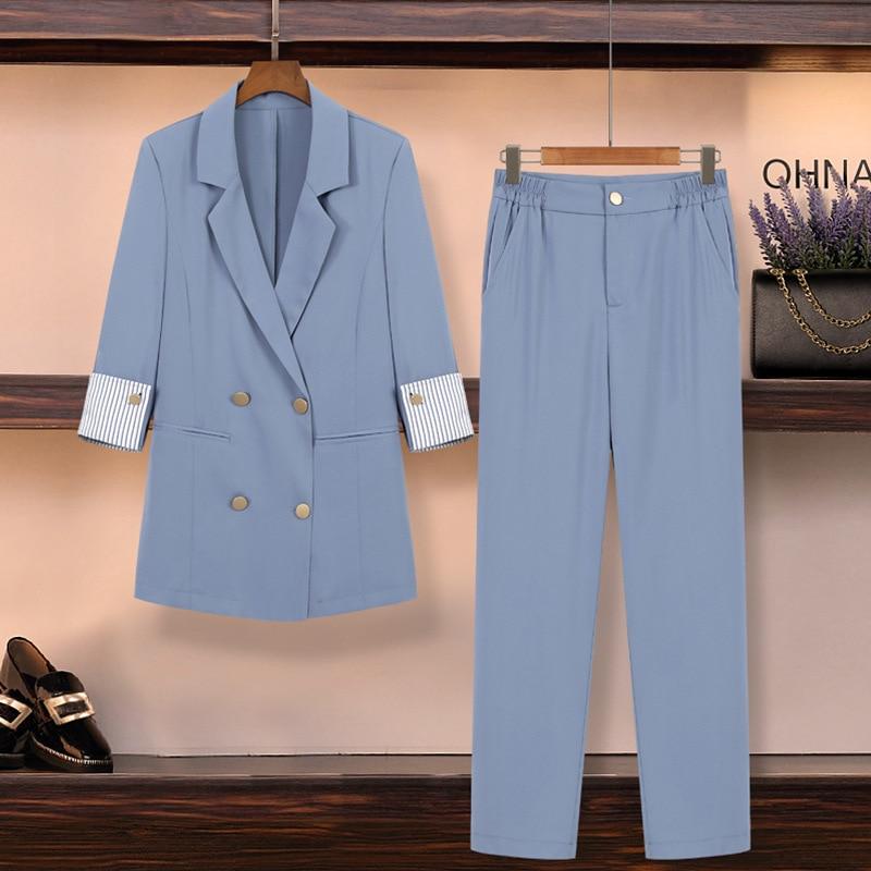 Pants Suits Elegant Woman Womens Outfits Suit Female Large Size Thin Section Office Ladies Commercial Uniform OL 2 Piece Sets
