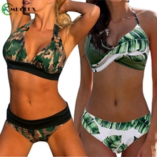 2019 Sexy Camouflage Swimsuit Women Plus Size Halter Bikini Beachwear Army Green Swimwear High Waist Biquini Bathing suit
