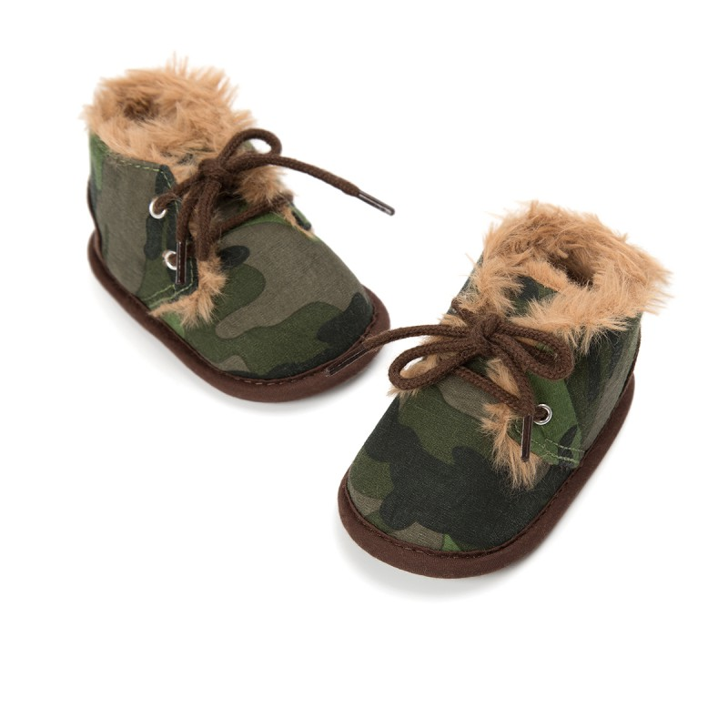 Baby Boots Solid Lace-Up Cross-tied Autumn Winter Baby Shoes Warm Baby Plush Boots Snow Shoes