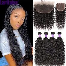 Laritaiya-mechones de cabello humano brasileño con ondas al agua, 100% Frontal, 3 mechones, Shuangya Miss Cara