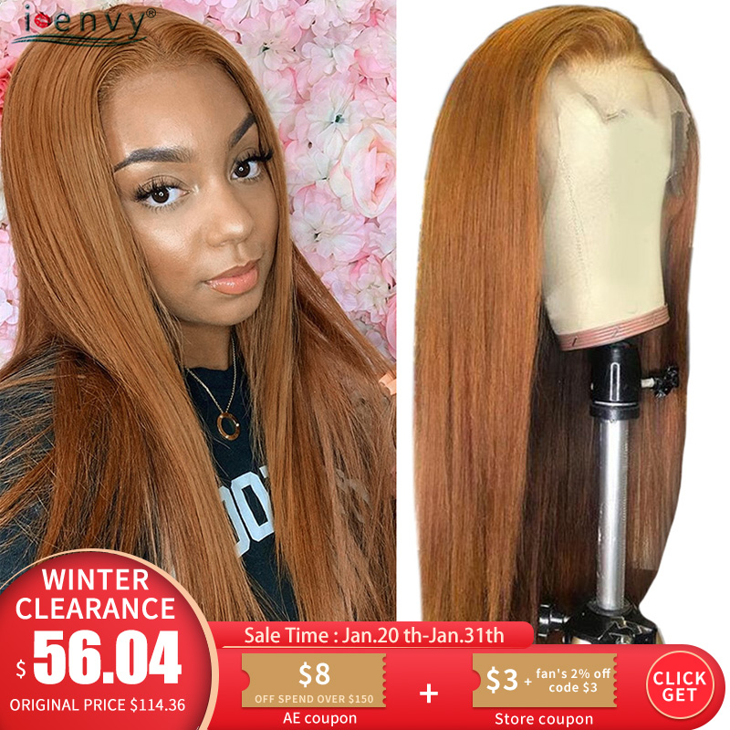 Highlight Ginger Blonde Lace Front Human Hair Wigs Straight 13X4 Lace Front Wig Color 30 Blonde Lace Wig 180% Non-Remy