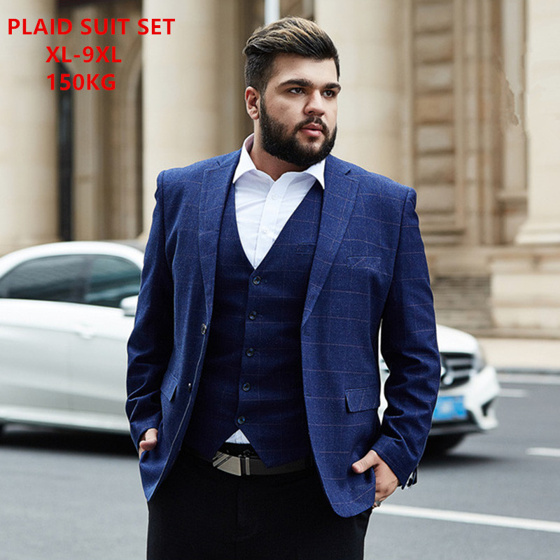 Plaid Suits For Men 2019 Groomsman Wedding Formal 3 Piece Business Pants Clothes Size 5XL 6XL 7XL 8XL 9XL Office Formal 2 Set