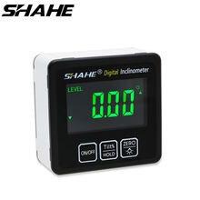 Shahe digital ângulo finder transferidor régua medidor de liga alumínio eletrônico nível 360 graus chanfrado caixa ferramentas medição