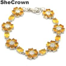 28x14mm Classic Created Golden Citrine White CZ Present Silver Bracelet  7.0-8.0in