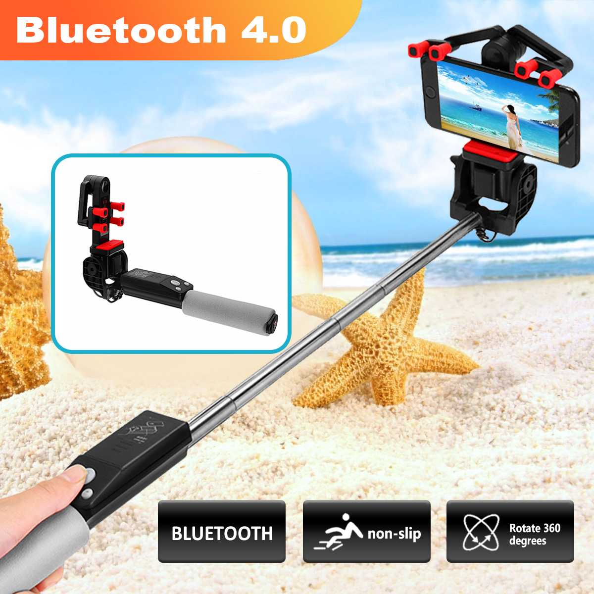 Smart Wireless  Selfie Stick Electric 360 Degree Rotation Extendable Monopod  For Smartphone