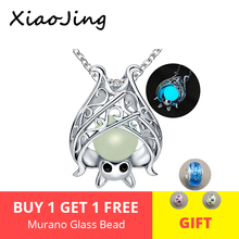 Highly recommend cute animal bat luminous pendant necklace 925 sterling silver charms beads chain jewelry making women gifts
