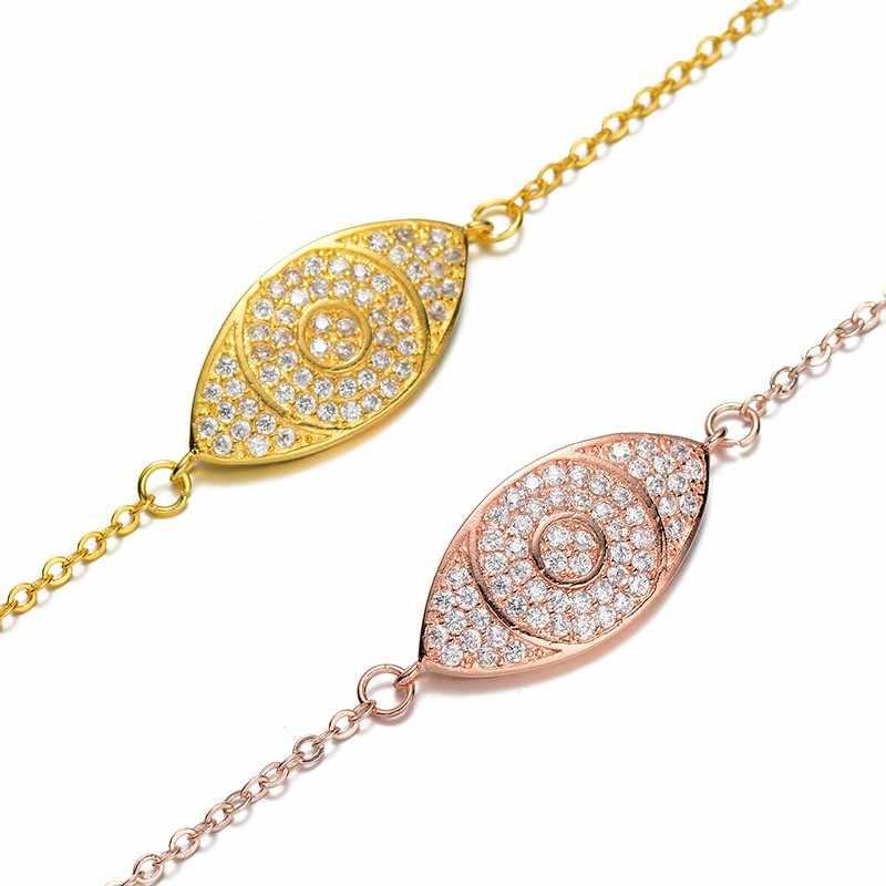 CHSXY exquis turc mauvais oeil bracelets pour femme or Rose couleur or pavé cristal Zircon bracelet à breloques chance Talisman cadeau