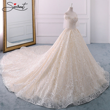 Lace Pearl Champagne Pattern Wedding Dress Luxury Off The Shoulder Boat Neck Up Garden Church  Plus Size