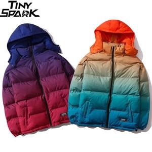 Image 3 - Men Hip Hop Hooded Jacket Winter 2019 Streetwear Gradient Color Padded Parka Harajuku Trench Coat Windbreaker Outwear Oversize