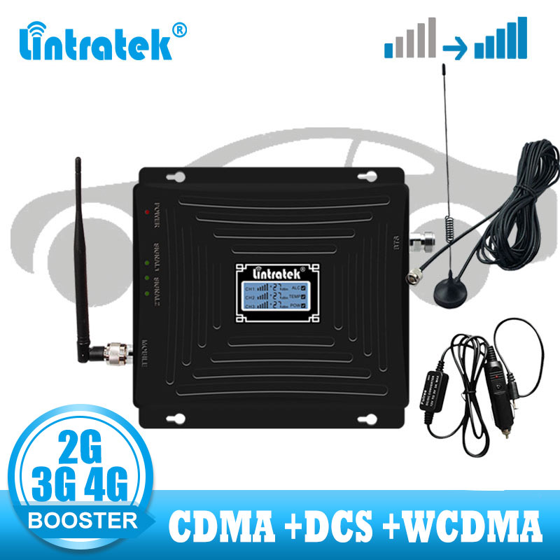 Car Use Repetidor Tri Band CDMA 850 WCDMA 2100 LTE 1800 2G 3G 4G Signal Booster Cellphone Cellular GSM Signal Repeater Amplifier