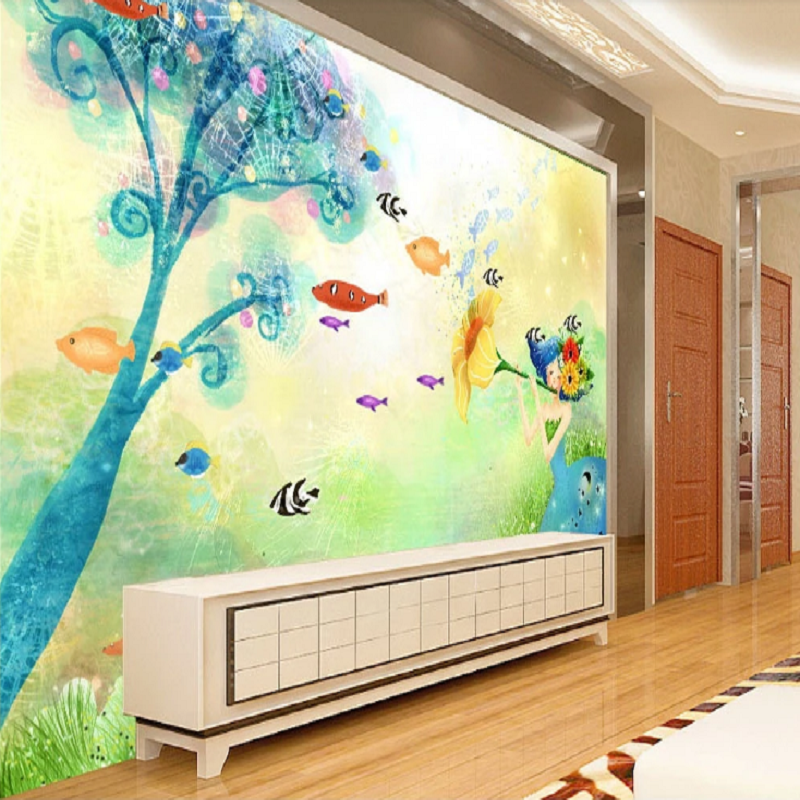 New Custom Large Mural 3D Wallpaper Cartoon Fantasy Girl Fish Children's Bedroom Mural TV Back Wall Decor Deep 5D Embossed