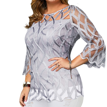 цена на Plus Size Lace Blouse Shirt Women 3/4 Sleeve O Neck Mesh Patchwork Shirts Large Size Ladies Blouse And Tops Geometric Blusas D30