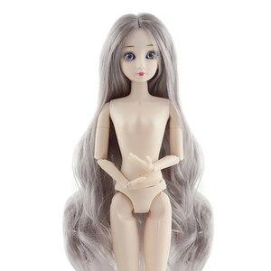 30 см голубые глаза 1/6 BJD куклы, шарнирная кукла с 3D глазами, фиолетовые/серые волосы, женские голые тела, куклы, игрушки для девочек, модная Кук...