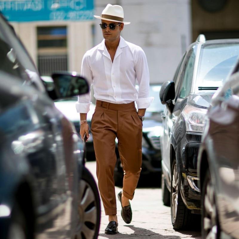 Vintage Mens White Slim Fit Long Sleeve Shirt Business Man Fashion Casual Shirts Top Streetwear Summer Lapel Collar Groom Shirt - 2