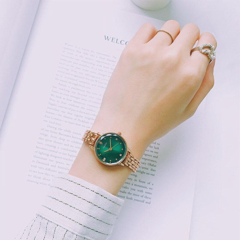 Luxury Green Dial Wristwatch Ladies Stainless Steel Chain Bracelet Watch Simple Quartz Women Watch Dress Watch Gift