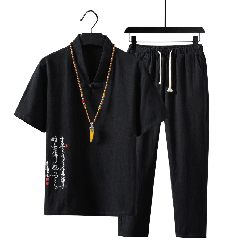 5XL Streetwear Men's Sets Embroidery Chinese Style Summer Tracksuit Mens 2020 Casual Cotton Linen Suit Male Clothing XXXXXL