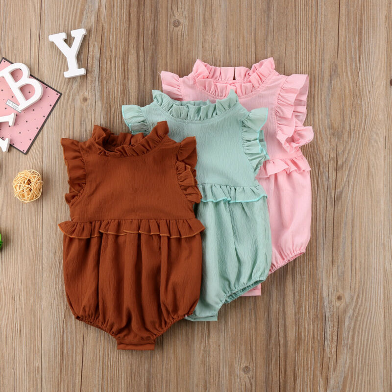 Pudcoco Newborn Baby Girl Solid Ruffled Rompers Jumpsuit Clothes Outfit Cotton Linen 2020