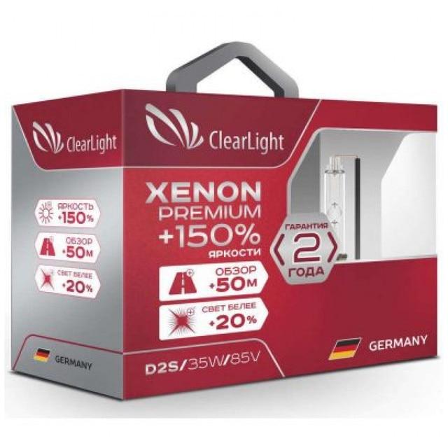 Лампа автомобильная ксеноновая Clearlight Xenon Premium +150%, цоколь D2R, 5000 К, 35 Вт, 2 шт