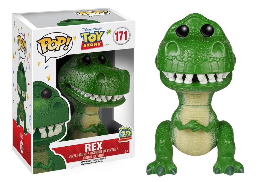 Funko POP filme brinquedos de TOY STORY 4 REX PVC Action Figure Collectible Modelo brinquedos figura para chlidren com caixa 10CM