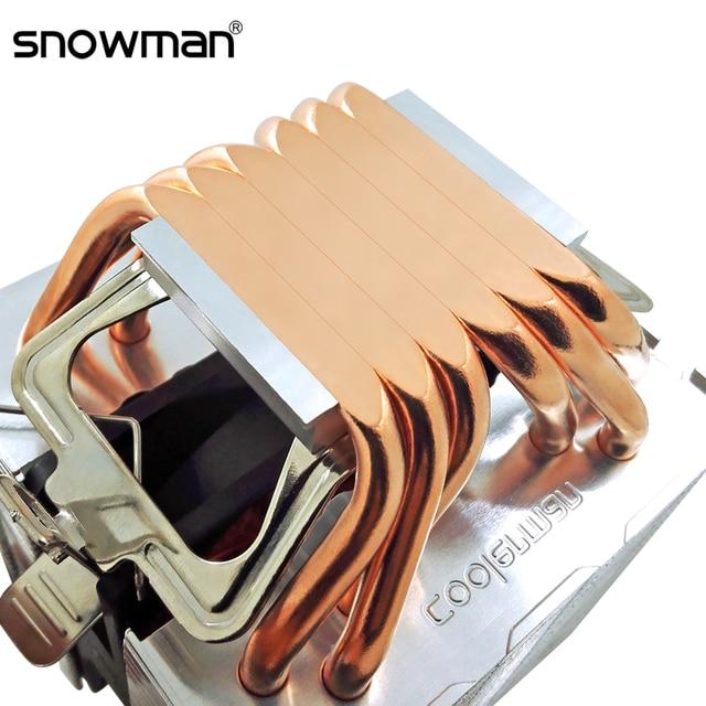 SNOWMAN 6 Heat Pipes CPU Cooler 4 Pin PWM RGB PC Quiet Intel LGA 2011 775 1200 1150 1151 1155 X79X99 AMD AM3 AM4 CPU Cooling Fan 1
