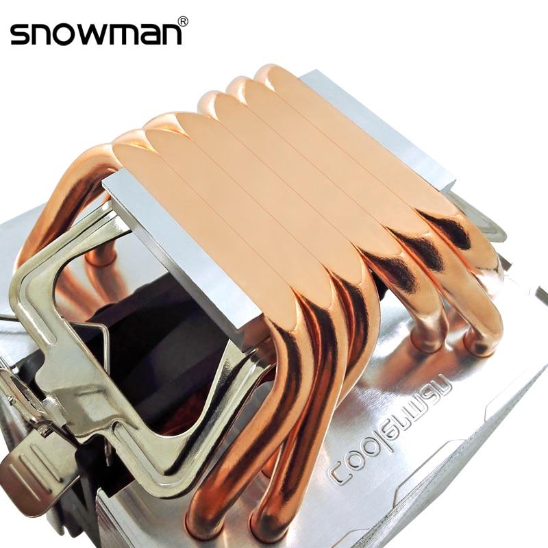 Кулер SNOWMAN для ЦП, кулер с 6 тепловыми трубками, 4 контакта, ШИМ, RGB, для ПК, тихий, Intel LGA 2011, 775, 1200, 1150, 1151, 1155, AMD AM3, AM4, 90 мм