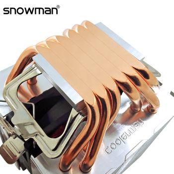 SNOWMAN 6 rury cieplne chłodnica procesora 4 Pin PWM RGB PC cichy Intel LGA 2011 775 1200 1150 1151 1155 AMD AM3 AM4 90mm wentylator chłodzący CPU tanie i dobre opinie CN (pochodzenie) Intel and AMD 2 5 W Fluid Łożyska 50000 godzin 2000 RPM 15-25dBA 45CFM 4 Linie Heatpipe 4PIN Miedzi i aluminium