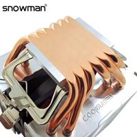 SNOWMAN 6 rury cieplne chłodnica procesora RGB 90mm PWM 4Pin PC cichy dla Intel LGA 775 1150 1151 1155 1366 AMD AM2 AM3 AM4 wentylator chłodzący cpu w Wentylatory i chłodzenie od Komputer i biuro na