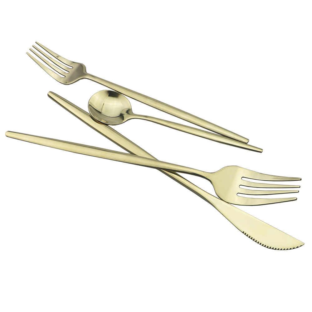 4/5/6Pcs Cermin Champagne Emas Sendok Garpu Set Sendok Garpu Set Dapur Perak Set Steak Peralatan Makan untuk Pesta sendok Garpu Pisau