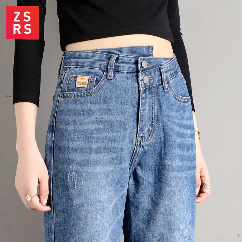 Zsrs 2019 otoño nueva mujer jeans novio jeans para mujeres más el tamaño de las mujeres jeans sueltos pantalones vaqueros de cintura alta skinny