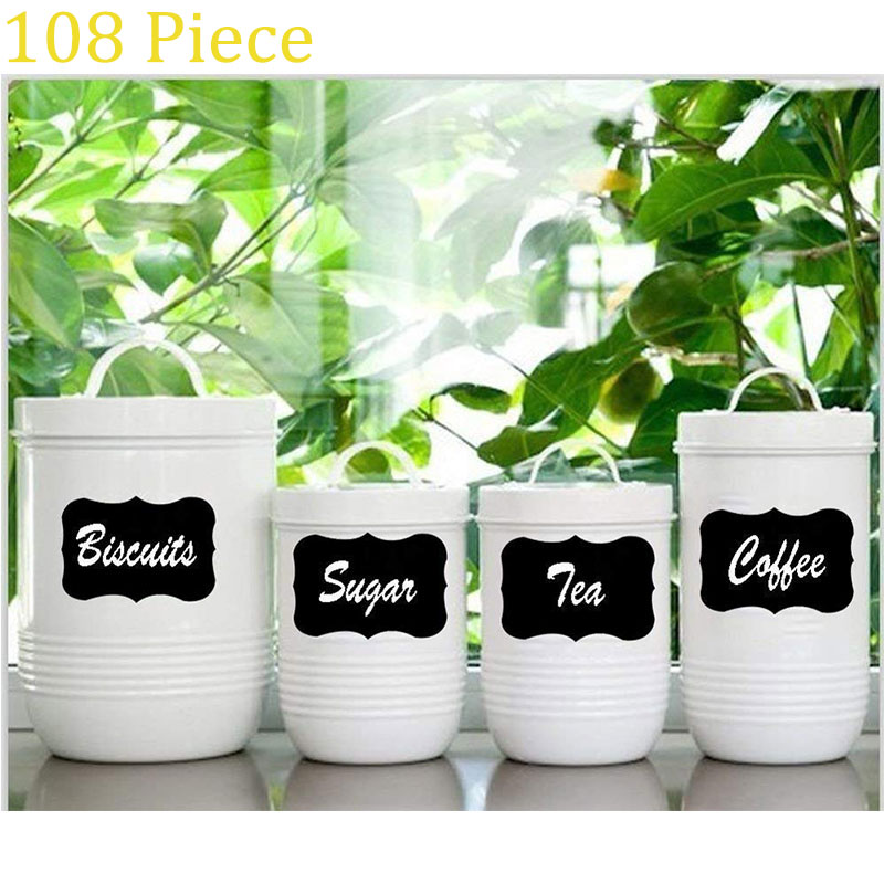 108 Packs Of Best Large Reusable Blackboard Labels + Liquid Chalk Pens To Decorate Your Self-adhesive Wallpaper For Pantry