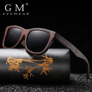 GM Wooden Sunglasses Lenses-Eyewear Mirror-Coating Bamboo Handmade Polarized with Gift-Box