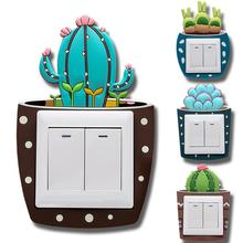new Silicone 3D Switch Stickers Luminous Cactus Wall DIY Decal Sticker Decor  Home