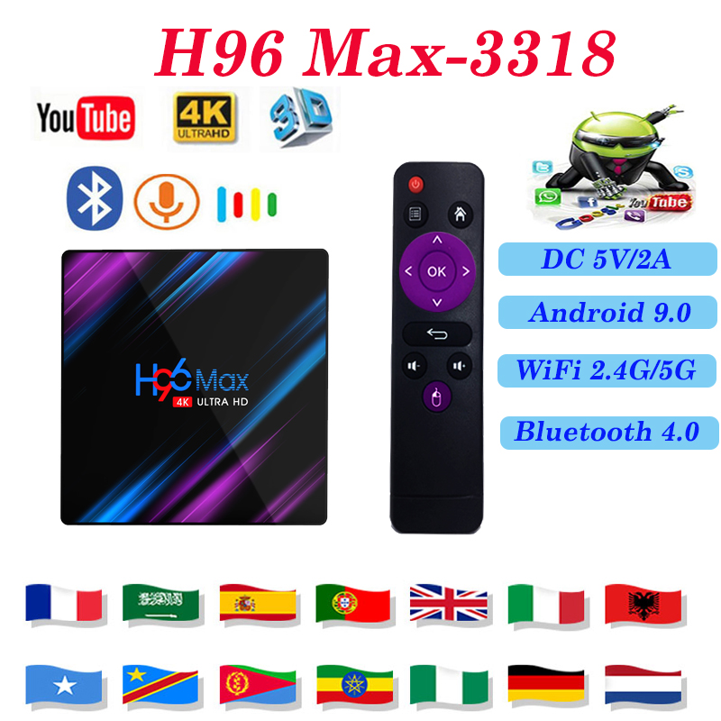 Android 9.0 TV smart H96 MAX 3318 4GB 64GB 3318 USB3.0 Built in 2.4G /5G 3D 4K support iptv m3u subscription Media player
