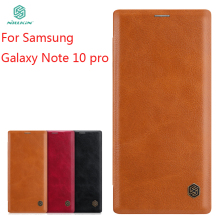 купить For Samsung Galaxy Note 10+ Case NILLKIN PU Leather Flip Case For Samsung Galaxy Note 10 Pro Note 10+ Cover Flip Phone Case дешево
