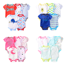 5pcs/set Baby Bodysuit Short Sleeve Jumpsuit Cartoon Whale Print Boy Clothes Set Infant Kid Girl Bodysuits 100% Cotton
