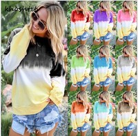 Khoshtib женский свитер новая мода темперамент осень и зима круглый вырез Радуга градиент печатных с длинными рукавами свитер