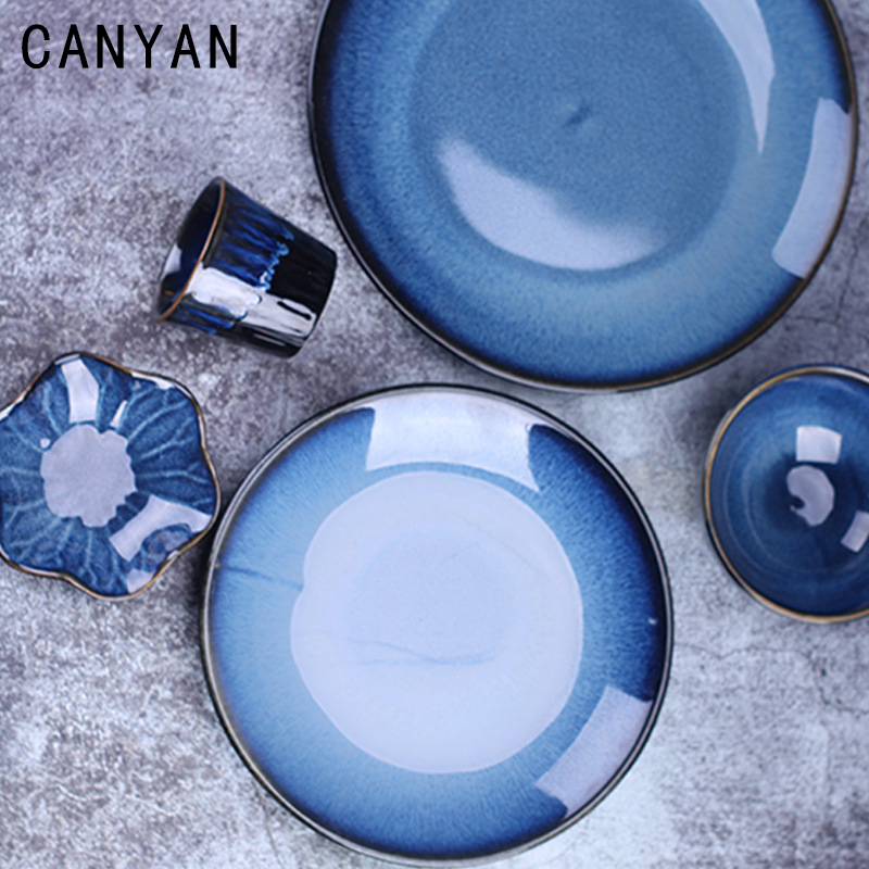 Western Dishes Retro Embossed Dishes Ceramic Kiln Tableware Bowls/Slices/Plates/Cup Japanese Style Lotus Leaf Azure Blue