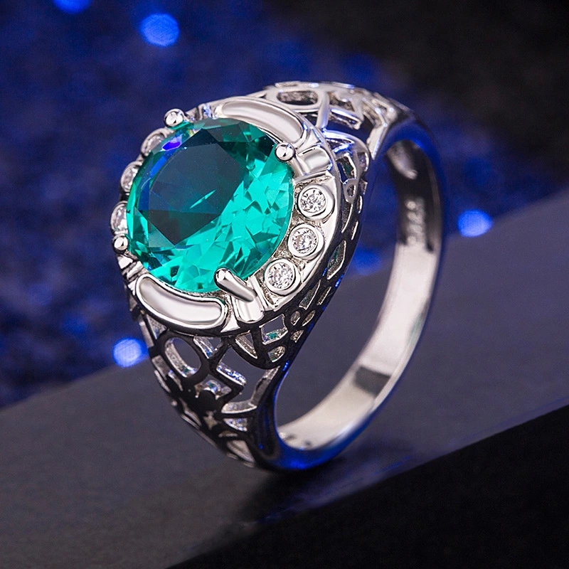 Trendy Green Gemstone Rings For Women 925 Sterling Silver Emerald Wedding Party Ring Silver 925 Jewelry Best Gifts Wholesale