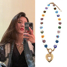 Fashion Jewelry Glaze shell Heart shape Pendants girl Necklace woman personality temperament ins Fine Jewelry Jewelry Making