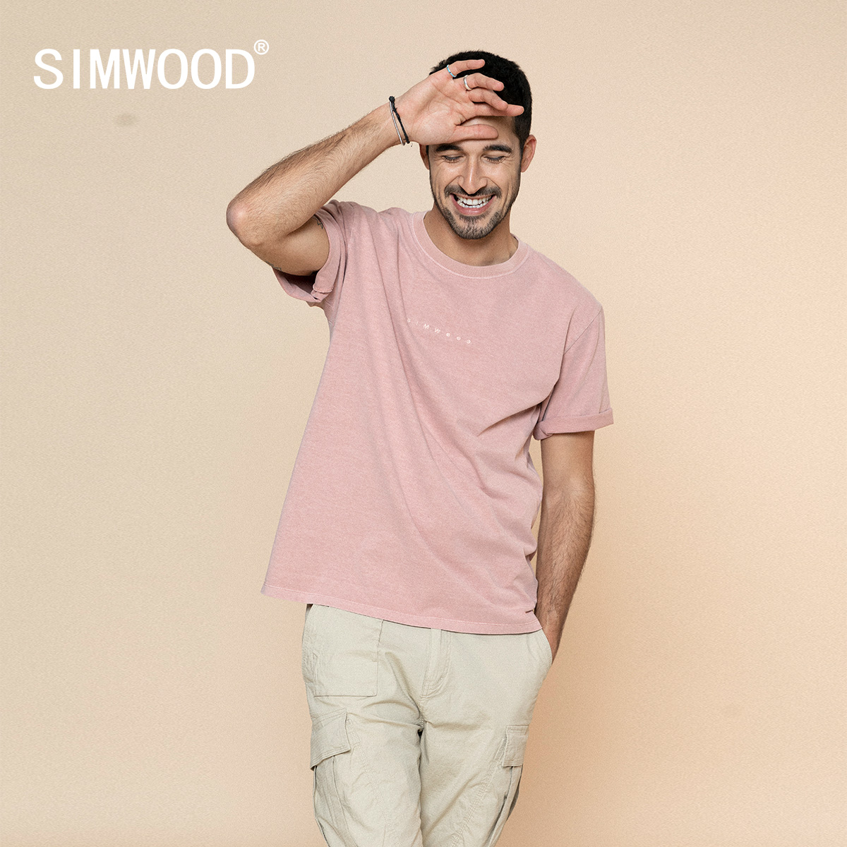 SIMWOOD 2020 Summer New Garment-Dyed Cotton T-Shirts Men Fashion Embroidery Letter Vintage T Shirts Plus Size Tops SJ130305