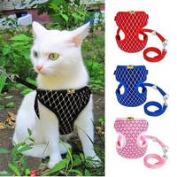 Cute Dog Cat Harness Vest Breathable Mesh Pet Puppy Harness and Leash Set Small Soft Pet Chest Strap for Chihuahua