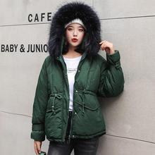 Модная повседневная женская зимняя куртка с хлопковой подкладкой, теплая плотная женская короткая куртка с большим меховым воротником, женские куртки