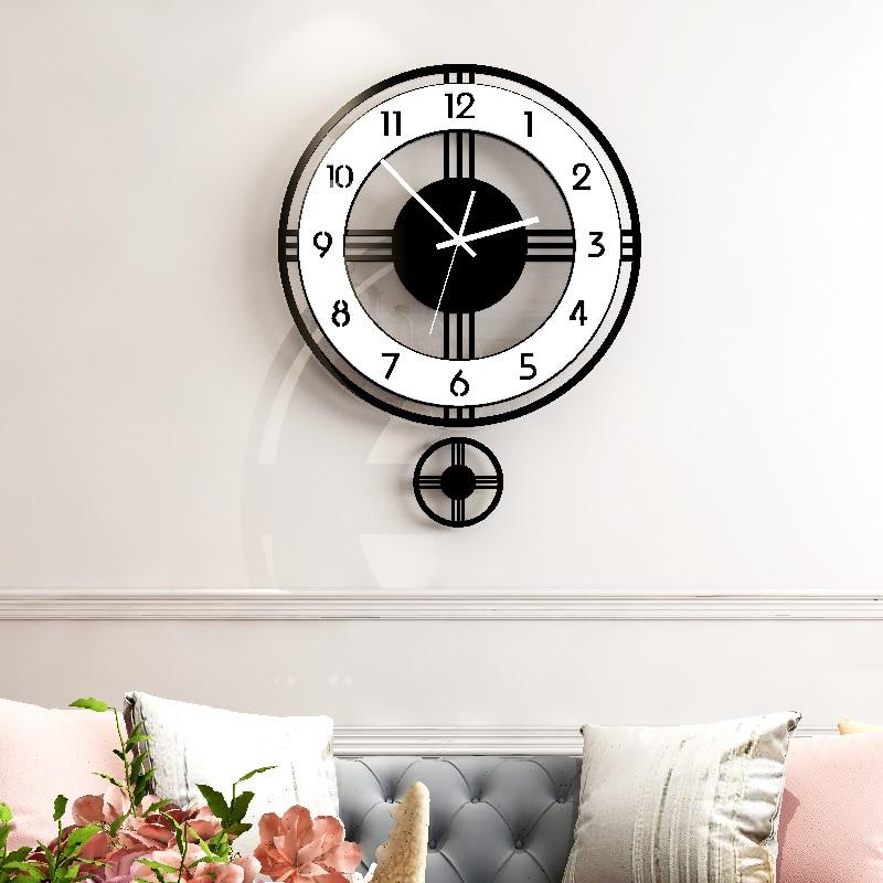 Wall Clock Modern Design Swingable Silent Large Clocks Home Decor Living Room Kitchen Watch Hanging Pendulum Clocks Free Shining