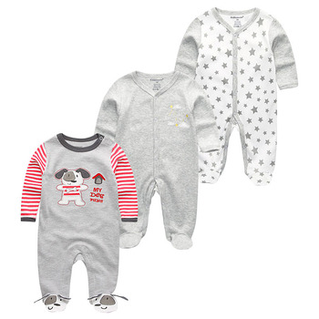 0-12Months Baby Rompers Newborn Girls&Boys 100%Cotton Clothes of Long Sheeve 1/2/3Piece Infant Clothing Pajamas Overalls Cheap - Baby Rompers RFL3702, 6M